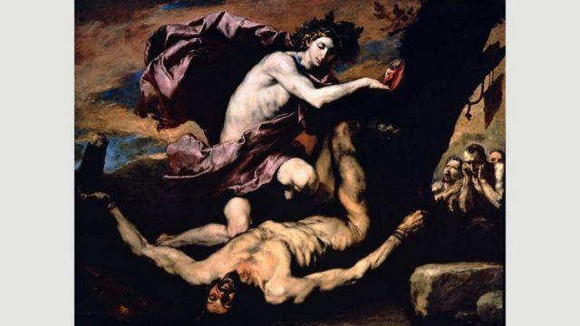 Apollo and Marsyas (1637) menampilkan salah satu tema favorit Ribera: tubuh yang dikuliti hidup-hidup.