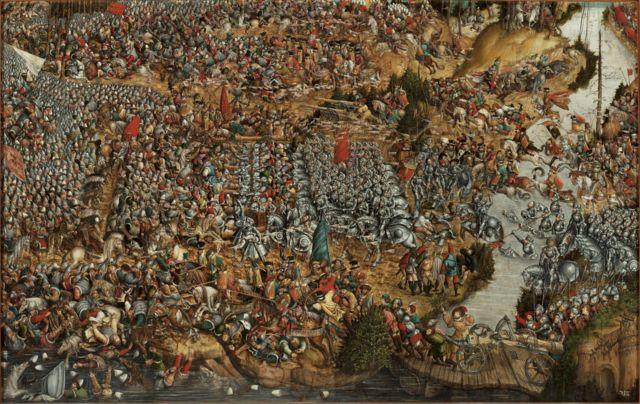 Битва під Оршею. Картина відображає тричі Костянтина Острозького і відтворює три етапи битви. Тому її назвали середньовічним кіном. Художник Ганс Крейль, приблизно 1524-1530 роки.