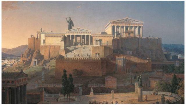 Pintura a color de la Acrópolis, de Leo von Klenze, 1846, una reconstrucción basada en el conocimiento de la época