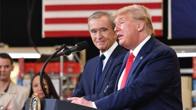 Бернар Арно и Дональд Трамп на открытии завода LVMH в Техасе