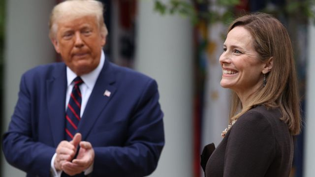 US President Donald Trump introduces Amy Coney Barrett as his nominee to the Supreme Court