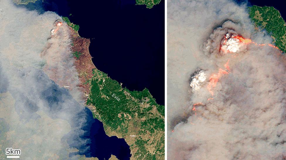 Imagens de satélite de incêndios florestais em Evia, na Grécia