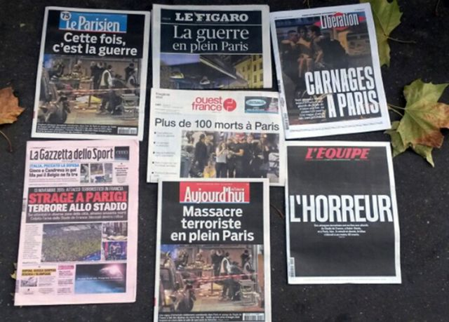 Front pages of French newspapers