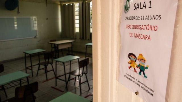 Sala de aula com restrições por cotna da covid-19