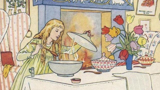 Ilustração de cena de 'Cachinhos Dourados'