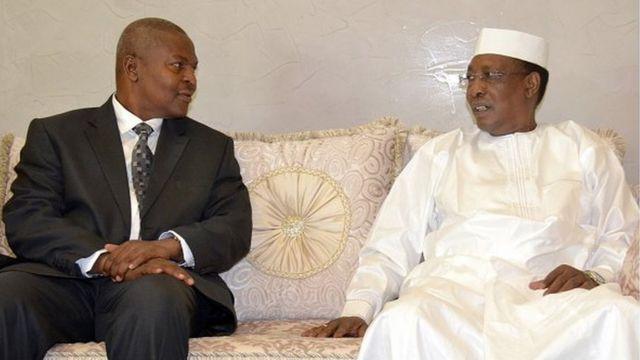 Faustin-Archange Touadéra (à gauche) et Idriss Déby, lors de la première visite du président centrafricain au Tchad, en février 2016