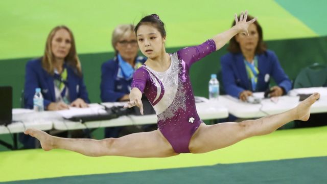 "Lee Eun Ju (KOR) of South Korea competes on the floor during the women""s qualifications."