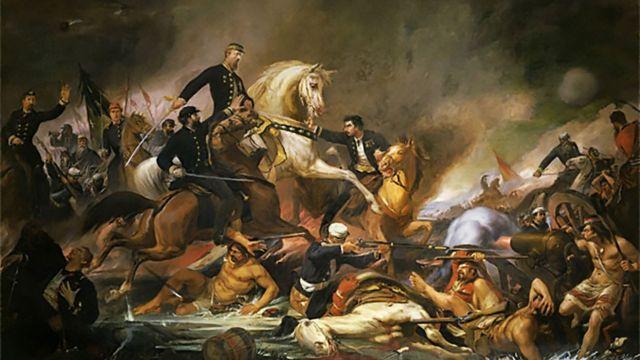 Ilustração de batalha na Guerra do Paraguai