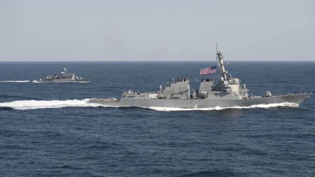 Two warships underway