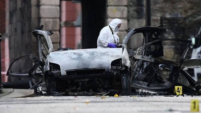 A forensic officer at the scene of the explosion on Sunday morning