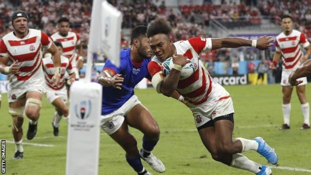 Kotaro Matsushima crossed for Japan's crucial fourth try in the 84th minute