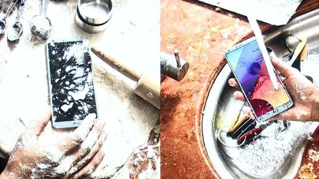 """تقول شركة """"إل جي"""" إن هاتفها الجديد يقاوم الأتربة والمياه"""