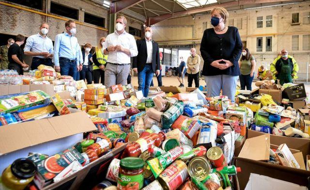 Bad Münstereifel food relief centre visited by Mrs Merkel, 20 Jul 21