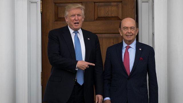 Wilbur Ross, secrétaire au commerce dans l'administration Trump est aussi cité.