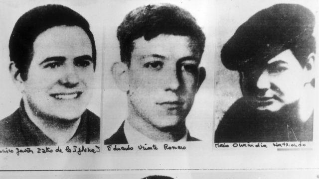 Tres de los acusados de pertenecer a ETA en 1970.