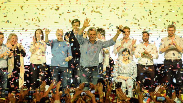 Macri y su alianza, Cambiemos, celebrando los resultados de las elecciones parlamentarias, en 2017.