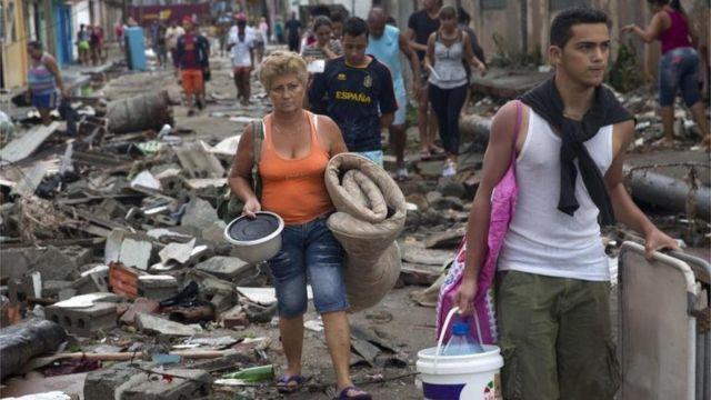 Destrozos del huracán Matthew en Baracoa, Cuba.