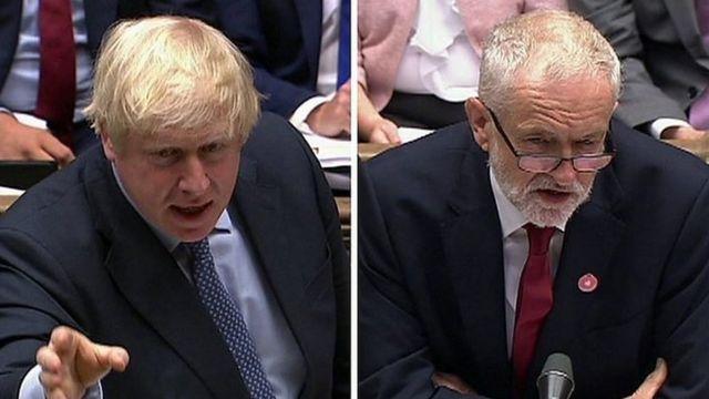 首相约翰逊(左)与反对党领袖科尔宾
