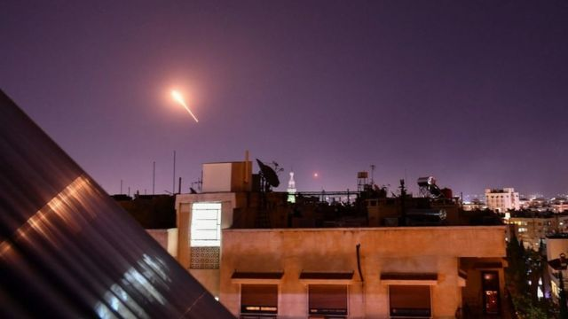 File photo from 20 July 2020 showing Syrian air-defence missile fired from near Damascus during Israeli air strikes