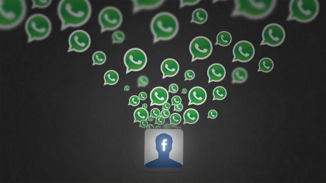 Ilustração mostra logos do WhatsApp saindo de logo do Facebook