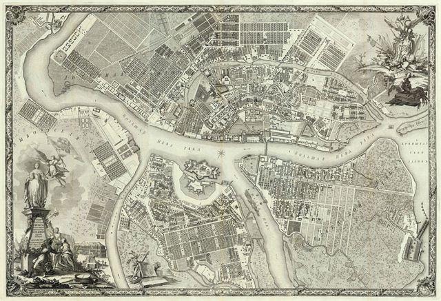Mapa de São Petersburgo 50 anos depois de ser fundada