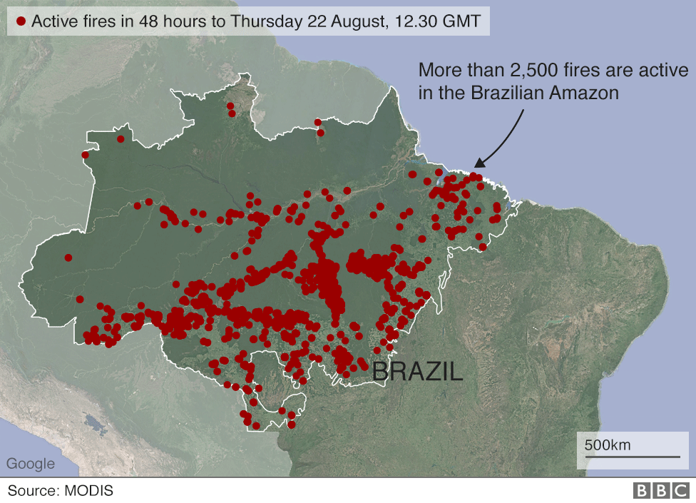 Map showing active fires in the Brazilian Amazon