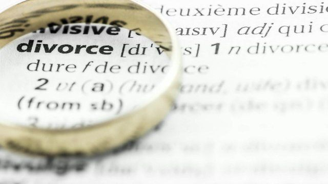 Wedding ring over dictionary definition of 'divorce'