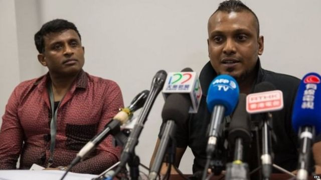 """The asylum seekers, known as Ajith (left) and Supun, have been moved to a """"safe"""" location"""
