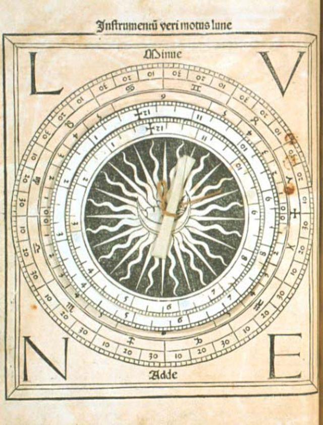 Parte del almanaque de Regiomontano con dos agujas móviles para calcular el movimiento de la Luna.