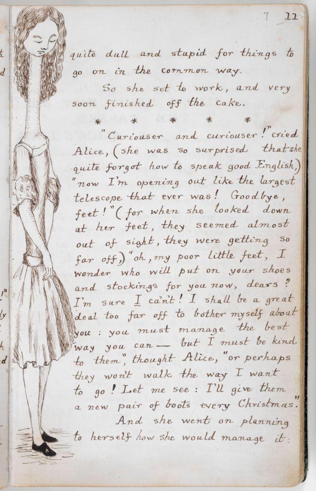 """El manuscrito de """"Las aventuras de Alicia bajo tierra""""."""
