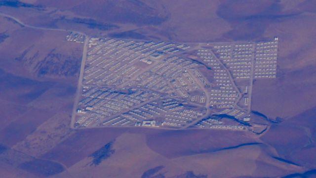 منظر جوي لمخيمات النازحين العراقيين في أربيل