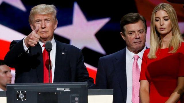 Дональд Трамп, Пол Манафорт и Иванка Трамп на съезде республиканцев