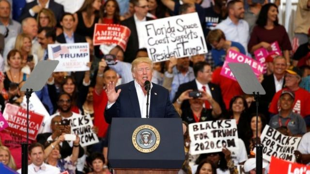 "US President Donald Trump speaks during his ""Make America Great Again"" rally at Orlando Melbourne International Airport in Melbourne, Florida, US on 18 February 2017."
