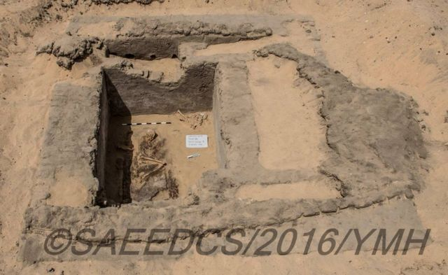 Picture shows what has been described as a grave in a city unearthed in southern Egypt that has been described as more than 5,000 years old.