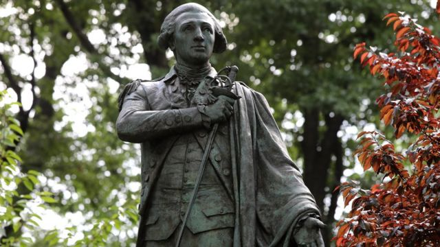 Marquis de Lafayette statue in New York, 25 Jun 20