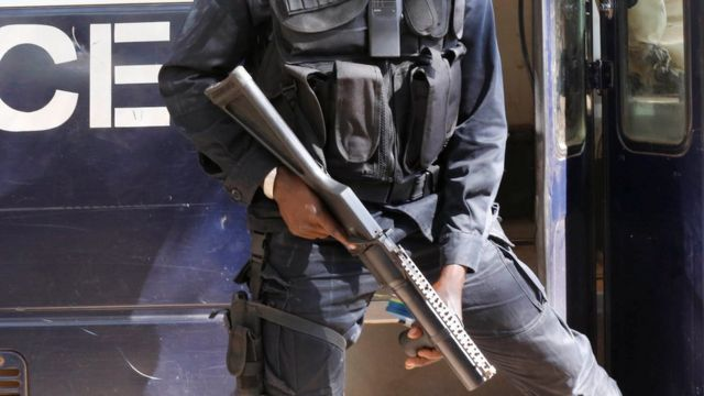 A court security officer in the Gambia