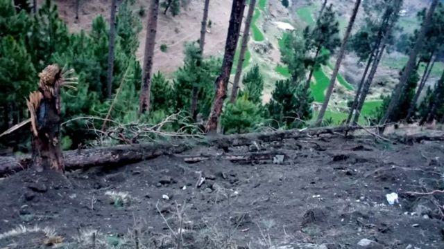 बालाकोटमधल्या घटनास्थळाचा पाकिस्तानी लष्काराने ट्वीट केलेला फोटो.
