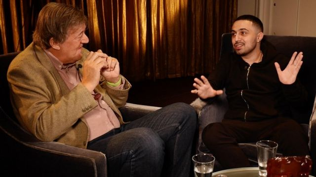 Stephen Fry and Adam Deacon in discussion