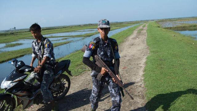 Myanmar border guard patrol the border area along the river dividing Myanmar and Bangladesh located in Maungdaw