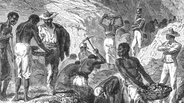 Imagem em preto e branco de escravos no Brasil