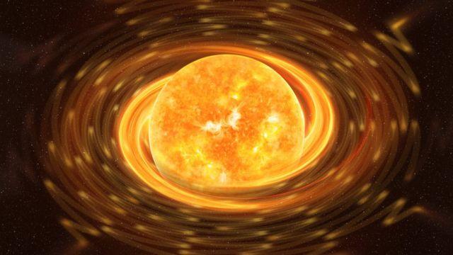Estrella magnetar contra un oscuro cielo estrellado. Los elementos de esta imagen fueron proporcionados por la NASA.