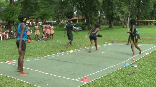 Children in Uganda playing Dodge Ball or Kwepena