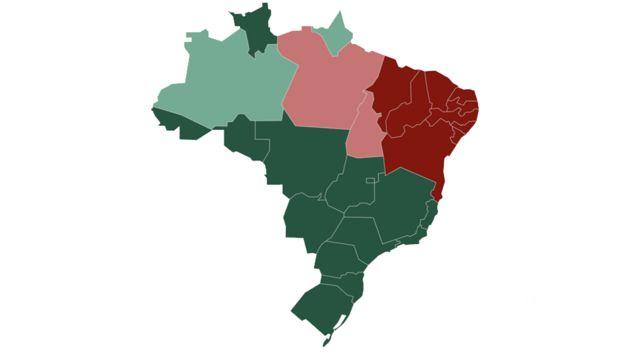 Mapa do Brasil, pintado com cores refletindo qual candidato venceu em cada unidade da federação