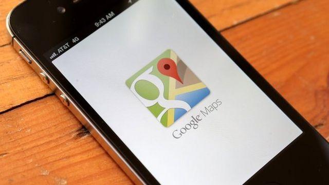 Google Maps dey open on top iPhone 4S.