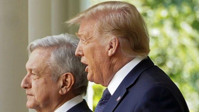 Andrés Manuel López Obrador y Donald Trump en la Casa Blanca el 8 de julio de 2020
