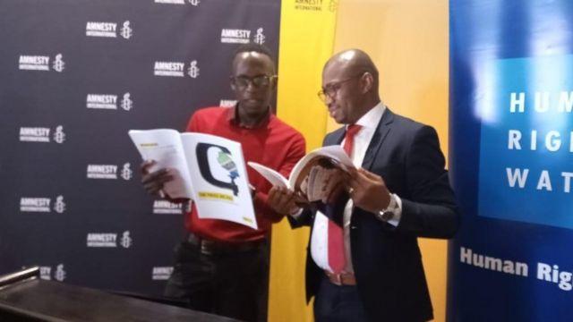 Maafisa wa Humanrights Watch na Amnesty International , mjini Nairobi tarehe 28.10.2019
