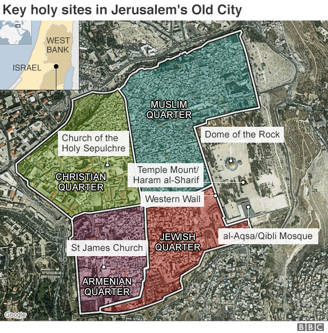 Map showing key holy sites in Jerusalem's Old City
