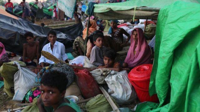 Rohingya Muslims seen at a makeshift camp on hills at Cox's Bazar