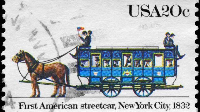 El primer tranvía estadounidense en Nueva York, 1832.