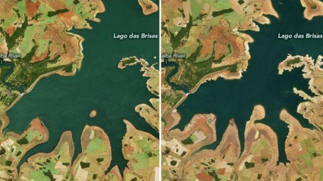 Imagens de satélite mostram a seca no Lago das Brisas